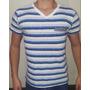 Camiseta Camiseta Gola V Listrada Original