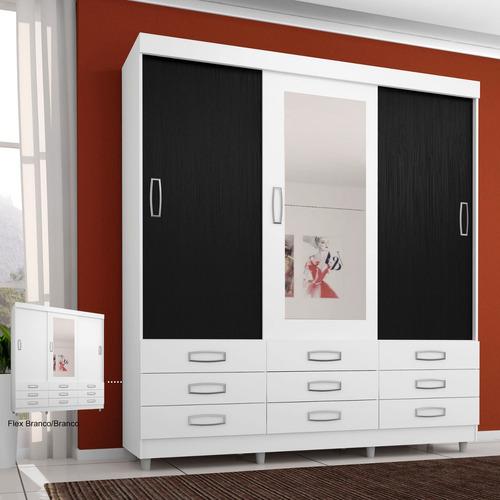 Guarda - roupa Casal Com Espelho 3 Portas 4900 Araplac