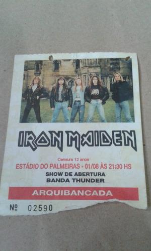 Ingresso Iron Maiden Palmeiras Sp 1992! Raridade!