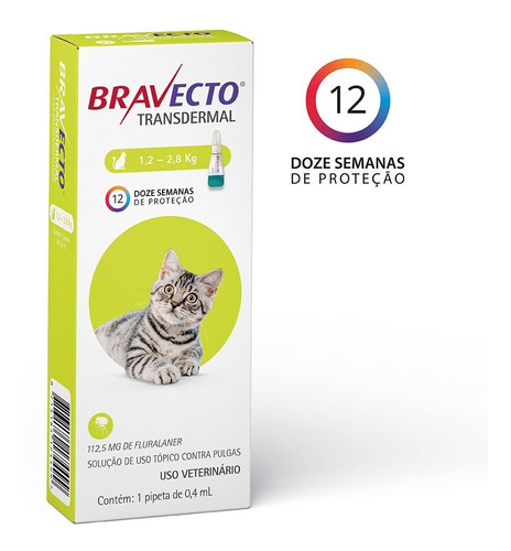 Bravecto Transdermal Para Gatos De 1,2 A 2,8kg - 112,5mg