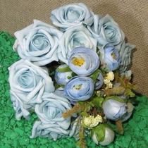 Buquê Bouquet Casamento Noiva Ou Daminha Rosas Azuis