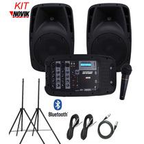 Kit Caixa Mixer Ativa Novik Evo410 Mesa Microfone + 2 Tripés