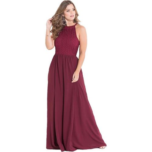 559ca4fa446a7 Vestido Longo Festa Marsala Madrinha Casamento Plus Size à venda em ...