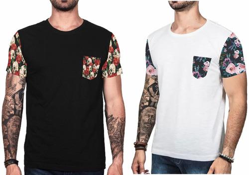 6b42912e1280c Camiseta Floral Moda 2018 Camisa Masculina Blusa Top 6 Pçs