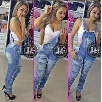 Macacão Calça Jeans Rasgado Jardineira Feminina Comprido!