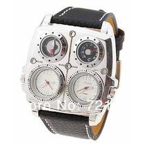 Relógio Masculino Quadrado Militar Oulm Aço Inox Termômetro