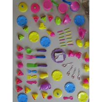74 Itens Panelinhas Cor Bule Pão Talher Bolo Barbie Polly