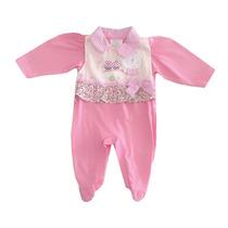 Macacão Infantil Feminino Rosa Bebe-chameguinho
