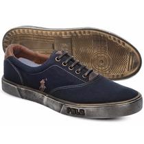 Tênis Polo Sneaker Masculino Azul Marinho E Marrom Manchado