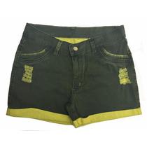 Short Jeans Feminino C/ Barra Dobrada Plus Size 44 Até O 60