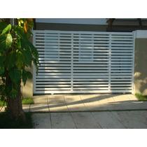 Portão Garagem Alumínio Branco Deslizante Régua Horizontal