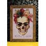 Quadro Caveira Mexicana Frida Khalo Em Madeira De Demolição