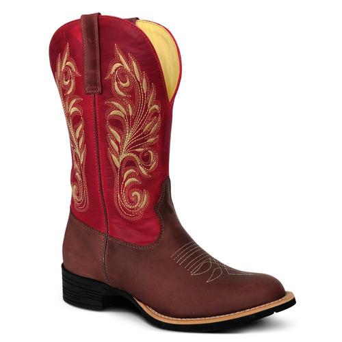 Bota Country 100% Couro Fóssil Feminina Texana Lady Silver