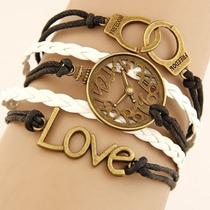 Pulseira Bracelete Masculina Feminina Love, Relogio, Algemas