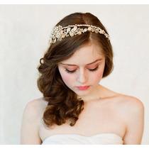 Tiara Dourada. Noiva Debutante Madrinha. Strass E Pérolas