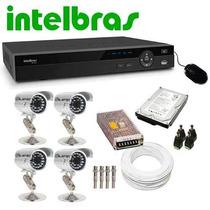 Kit Dvr 4 Canais Intelbras Hd 500 E 4 Câmeras Infra 1000l
