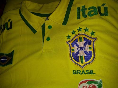 d8662b6534 Camisa Polo Seleção Brasileira 2018 Amarela E Azul - R  49 en ...