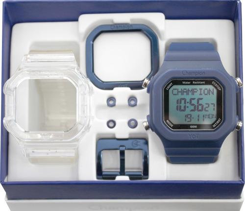 a3e3c88a516 Relógio Champion Yot Troca Pulseira Transparente E Azul