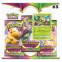 Triplo Pack Cartas Pokemon Grookey Voltagem Vivida Jogo Card Original