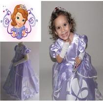 Vestido Festa Fantasia De Luxo Princesa Sofia + Luva E Coroa