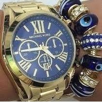 Relogio Mk Feminino Dourado Com Brinde E Fundo Azul