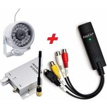 Micro Mini Câmera Sem Fio Infra Kit Com Placa De Captura Usb