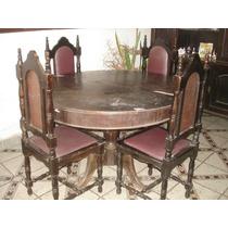 Mesa Em Madeira Antiga Redonda Podendo Aumentar + 6 Cadeiras