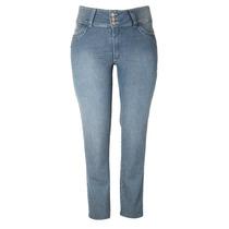 Calça Jeans Azul Feminino Cós Alto Tamanho 50 Ref 1493