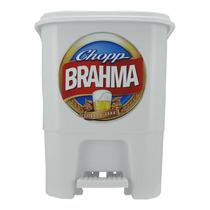 Lixeira Decorada Branca Com Pedal - Brahma - Cerveja