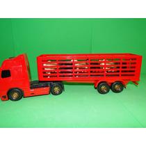 40cm Caminhão Boiadeiro Vermelho Boi Cavalo