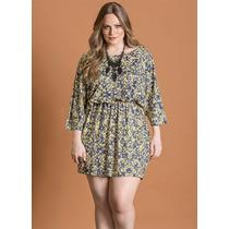 Vestido Acinturado Plus Size Estampado Moda Para Gordinha