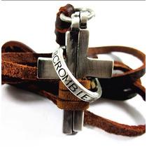 Colar Masculino Cordão Em Couro Cruz Crucifixo Abercrombie