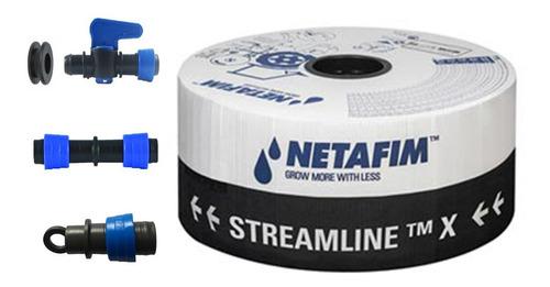 Tubo Gotejador Streamline X 30x30 Cm Netafim - 1000 Metros + 20 Conexões Iniciais Com Chula + 20 Emendas + 20 Finais