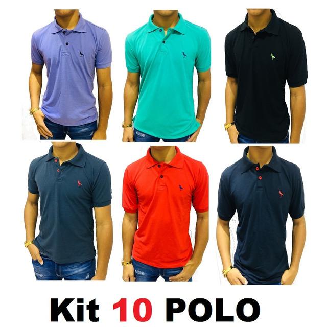 63dd987ef822e Kit C 10 Camisas Camisetas Atacado Gola Polo Masculina Frete em ...