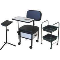 Cadeira Para Manicure S T+ Carrinho + Tripé = 3 Peças