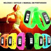 Relógio Pedômetro Masculino Feminino Distancia Km Calorias