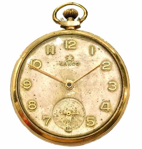 ccc95bd8718 Antigo Relógio De Bolso Suíço Grife Lanco Estrela Dourada