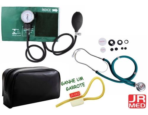 7884bf5df Kit Esfigmomanômetro C/ Estetoscópio Rappaport Verde Premium