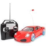 Ferrari Carro Carrinho Controle Remoto Leds Rodas Farol Neon
