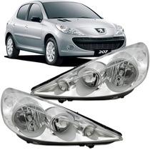Farol Peugeot 207 2007 2008 2009 2010 2011 2012 Cromado