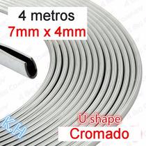 Rolo 4 Metros Friso U Cromado Tanque Paralamas Porta Custom