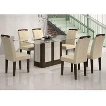 Conjunto Sala De Jantar Mesa Amsterdã 1,60m E 6 Cadeiras