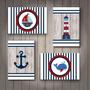 Conjunto Com 4 Placas Decorativas Em Mdf - Tema Marinheiro