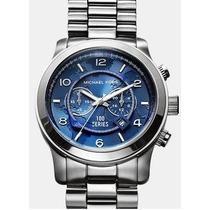 Relógio Michael Kors Mk8314 Prata Fundo Azul Frete Grátis.