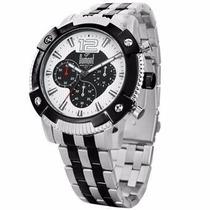 Relógio Dumont Sy70003/5b Prata Pulseira Aço Cronógrafo Nfe