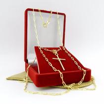 Corrente Masculina 70cm 2mm + Cruz Folheado Ouro Cr543