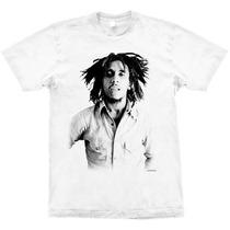 Camiseta De Banda - Bob Marley - Branco - Stamp