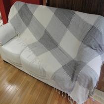 Manta Sofá Capa Cama Xadrez 5. Cinza Preto Branco 2,5x2,1 M