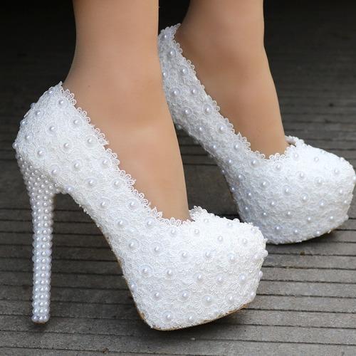 252dbfcfc Sapato Noiva Scarpin Branco Rosa Guipir Renda Pérolas
