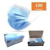 Máscara Descartável Tripla C/ Filtro Meltblown Kit C/ 100 Un